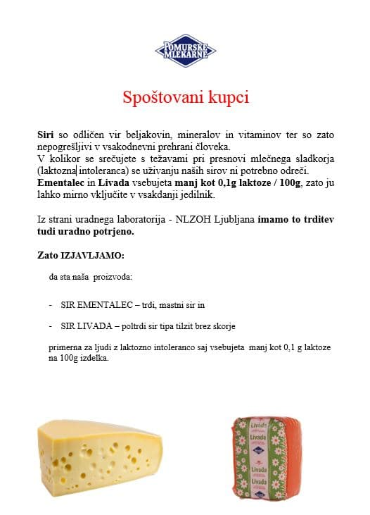 dopis-sir brez laktoze