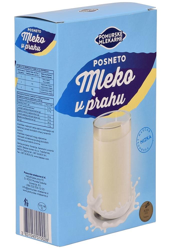 Posneto mleko v prahu Pomurskih mlekarn z nizko vsebnostjo maščob